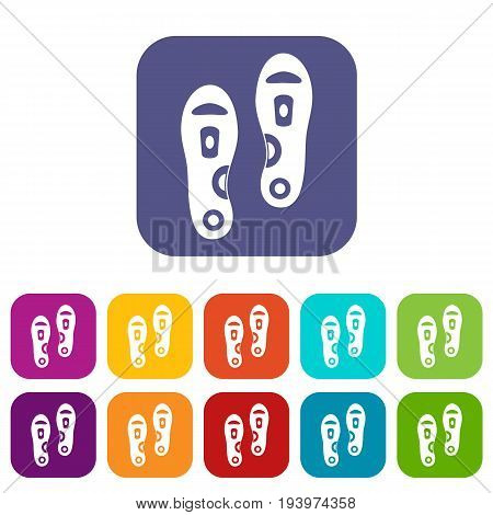 Orthopedic insoles icons set vector illustration in flat style In colors red, blue, green and other