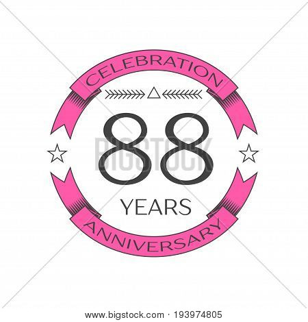 Realistic eighty eight years anniversary celebration logo with ring and ribbon on white background. Vector template for your design