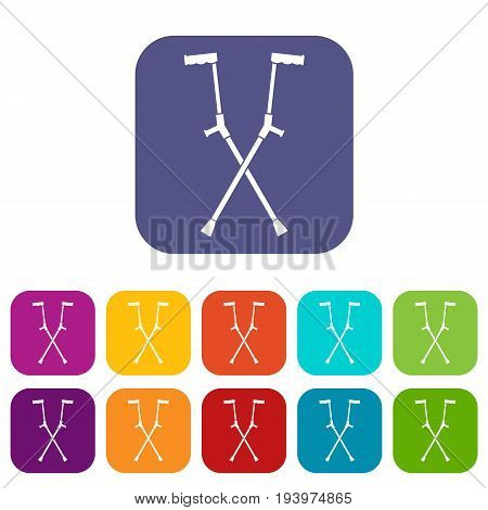 Other crutches icons set vector illustration in flat style In colors red, blue, green and other