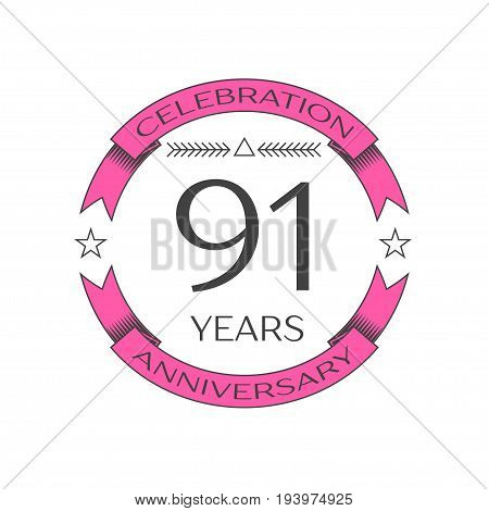 Realistic ninety one years anniversary celebration logo with ring and ribbon on white background. Vector template for your design