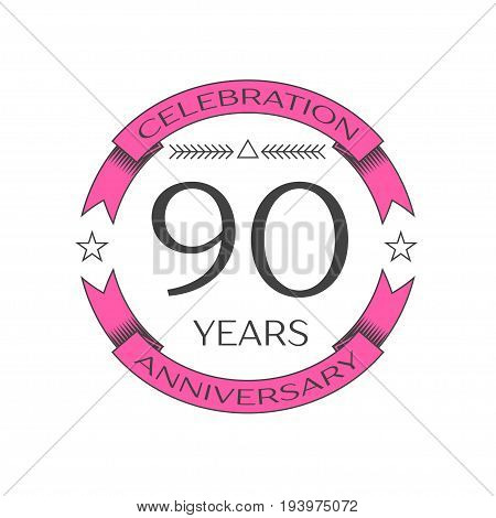 Realistic ninety years anniversary celebration logo with ring and ribbon on white background. Vector template for your design