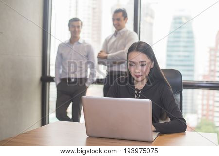 Asian Businesswoman Using Laptop For Work, Portrait Business Concept, 20-30 Year Old.