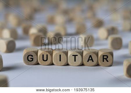 Guitar - Cube With Letters, Sign With Wooden Cubes