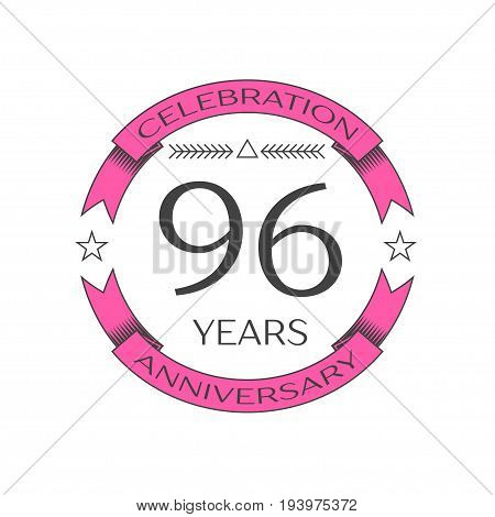 Realistic ninety six years anniversary celebration logo with ring and ribbon on white background. Vector template for your design
