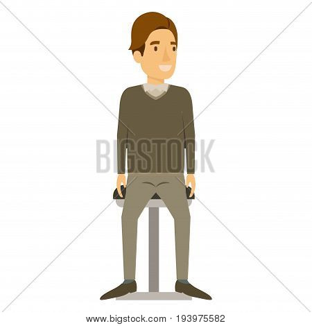 colorful silhouette of man in formal clothes and brown hair side fringe and sitting in chair vector illustration