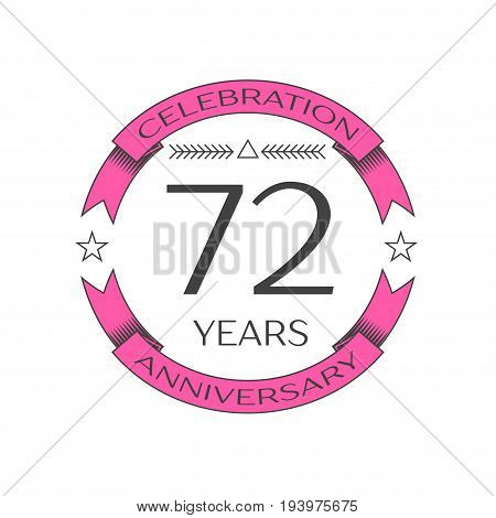 Realistic seventy two years anniversary celebration logo with ring and ribbon on white background. Vector template for your design