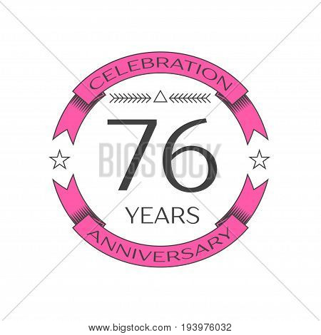 Realistic seventy six years anniversary celebration logo with ring and ribbon on white background. Vector template for your design