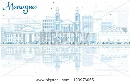 Outline Managua Skyline with Blue Buildings and Reflections. Business Travel and Tourism Concept with Modern Architecture. Image for Presentation Banner Placard and Web Site.
