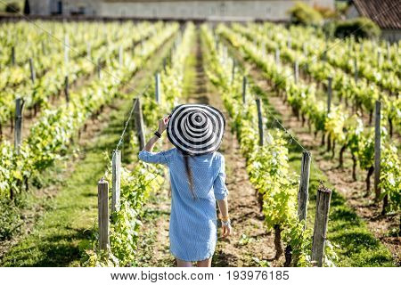Young woman in striped hat enjoying beautiful sunset view on the vineyard in Bordeaux region in France
