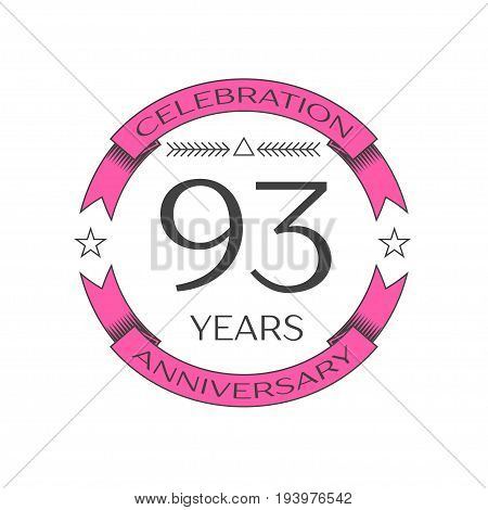 Realistic ninety three years anniversary celebration logo with ring and ribbon on white background. Vector template for your design