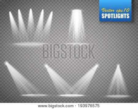 Set of vector isolated spotlights. Stage light on transparent background.