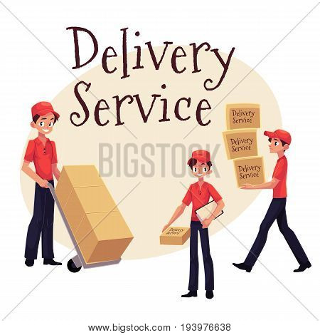 Delivery service banner with young man working as courier, delivering goods, parcel, boxes, cartoon vector illustration isolated on white background.