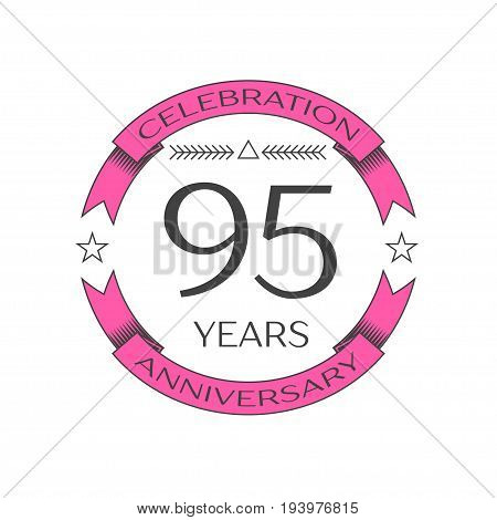 Realistic ninety five years anniversary celebration logo with ring and ribbon on white background. Vector template for your design