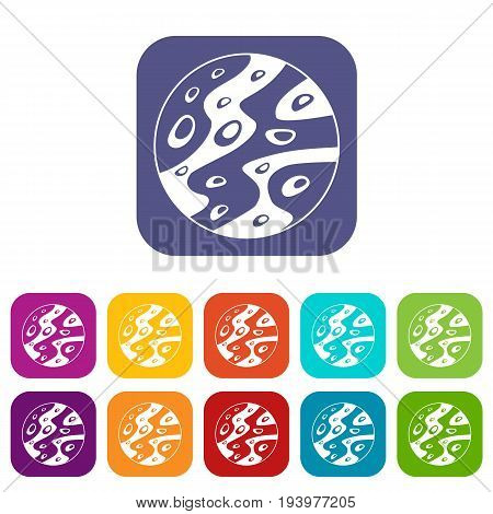 Moon icons set vector illustration in flat style In colors red, blue, green and other