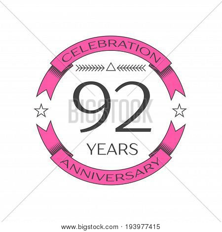 Realistic ninety two years anniversary celebration logo with ring and ribbon on white background. Vector template for your design