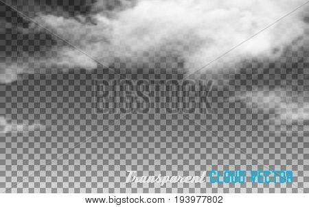 White Clouds on Transparent clouds. Vector illustration.