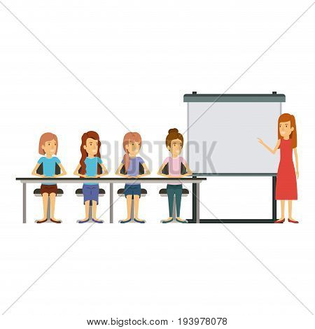 white background with women group sitting in a desk for executive female in presentacion business people vector illustration