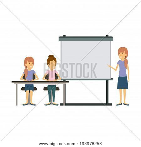white background with pair of women sitting in a desk for female executive orator in presentacion business people vector illustration