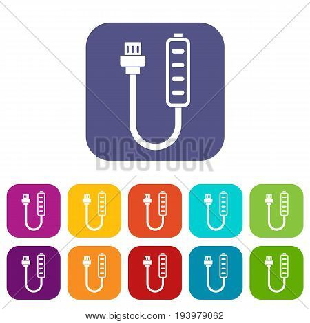 Charger icons set vector illustration in flat style In colors red, blue, green and other