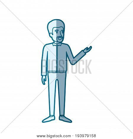 blue color silhouette shading of man with van dyke beard standing in formal clothes vector illustration