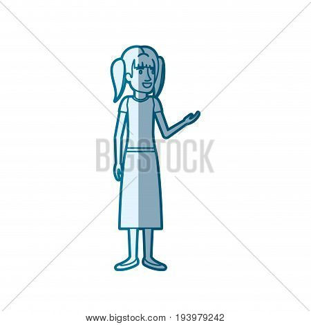 blue color silhouette shading of woman standing with pigtails hair in blouse and long skirt vector illustration