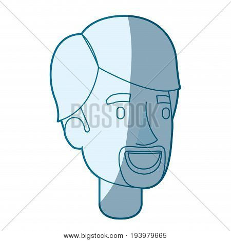 blue color silhouette shading of young man face with hair and van dyke beard vector illustration