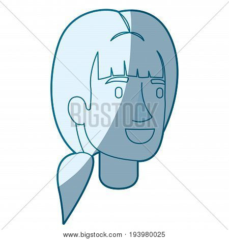 blue color silhouette shading of woman face with ponytail hairstyle vector illustration