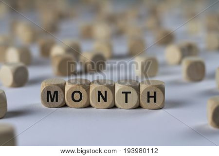 Month - Cube With Letters, Sign With Wooden Cubes
