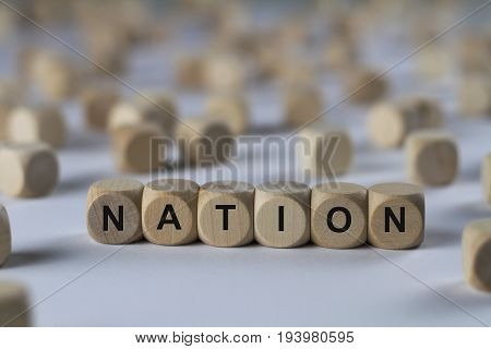 Nation - Cube With Letters, Sign With Wooden Cubes