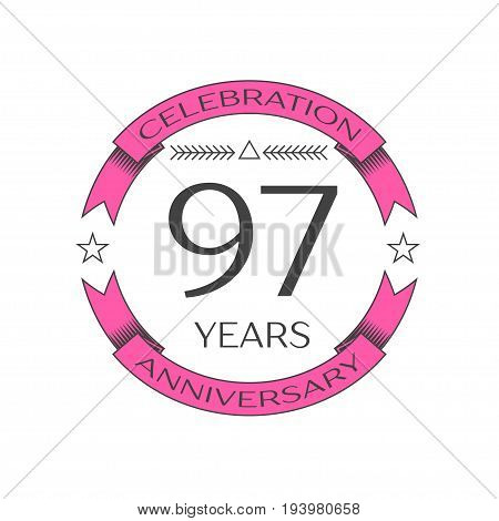 Realistic ninety seven years anniversary celebration logo with ring and ribbon on white background. Vector template for your design