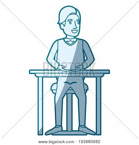 blue color silhouette shading of man in formal clothes and hair side fringe and sitting in chair in desktop vector illustration