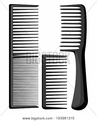 Set Of Professional Combs And Massage Brushes For Hair. Individual Items For Combing Hairbrushes For