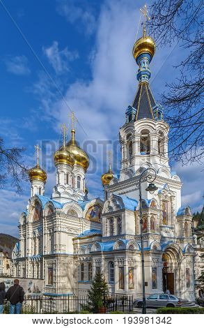 The beautifully decorated Byzantine style Orthodox Church of Saint Peter and Paul was erected between the years 1893 and 1898 Karlovy Vary Czech republic