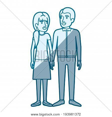 blue color silhouette shading of man and woman standing and her with ponytail and him in casual clothes and both vector illustration