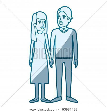 blue color silhouette shading of man and woman standing and her with long hair straight and him in formal clothes and hair side fringe vector illustration