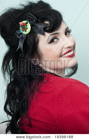 Pinup Model In Red Sweater