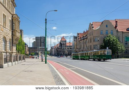 CITYSCAPE - Historic tram on the streets of Poznan