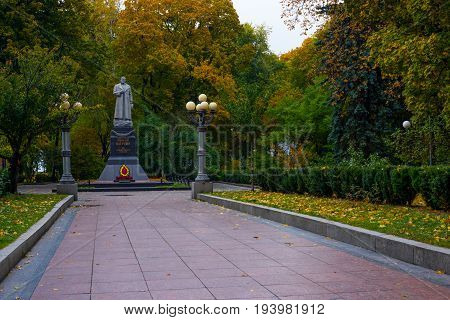 Monument to the Liberator Vatutin in the park of Kiev.Ukraine