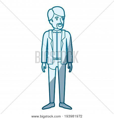 blue color silhouette shading of man standing with formal clothes and beard van dyke vector illustration