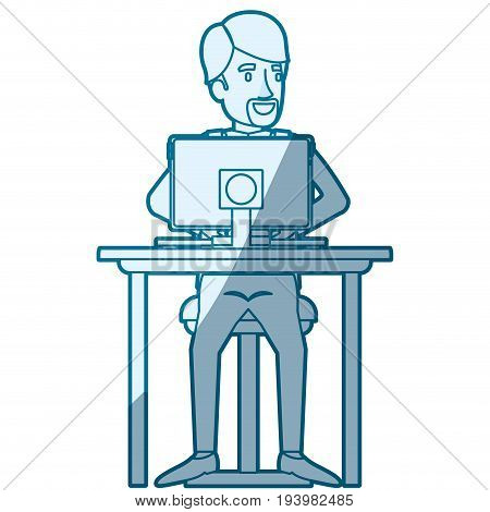 blue color silhouette shading of man with formal suit and beard van dyke and side parted hair and sitting in chair in desk in tablet vector illustration