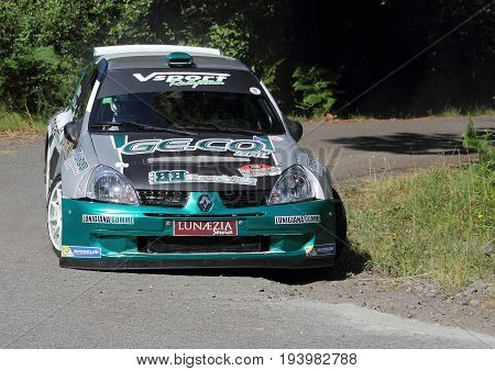 La Spezia Italia - July 2 2017 -Rally Gulf of Poets: The Renault Clio Super 1600 of the Arza'-Moriconi crew during the first special race speed test.
