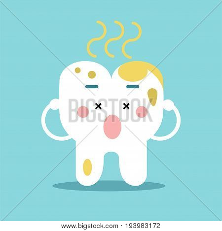 Cute cartoon tooth character with remnants of food, dental vector Illustration for kids on a light blue background