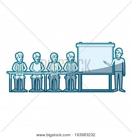 blue color silhouette shading with men group sitting in a desk for executive male in presentacion business people vector illustration