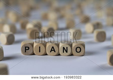 Piano - Cube With Letters, Sign With Wooden Cubes