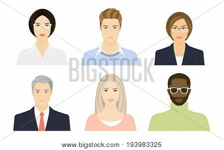 Female and male faces on a white background. Young and old people. Avatar for the Internet. Vector flat illustration.