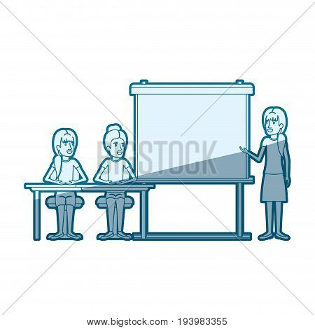 blue color silhouette shading with pair of women sitting in a desk for female executive orator in presentacion business people vector illustration