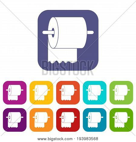 Roll of toilet paper on holder icons set vector illustration in flat style In colors red, blue, green and other