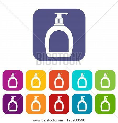 Bottle with liquid soap icons set vector illustration in flat style In colors red, blue, green and other