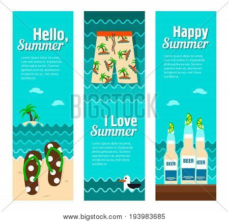 Travel and vacation vector banners. Summertime. Holiday