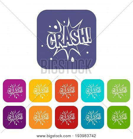 Crash explosion icons set vector illustration in flat style In colors red, blue, green and other